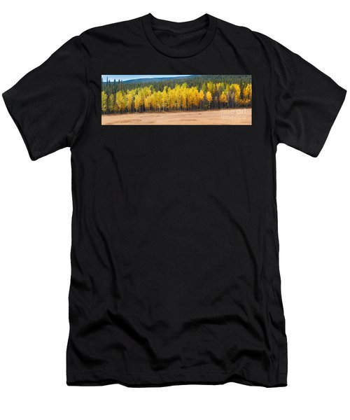 Panorama Of Aspen Grove Fall Foliage Peak To Peak Highway - Rocky Mountains Colorado State Men's T-Shirt (Athletic Fit)