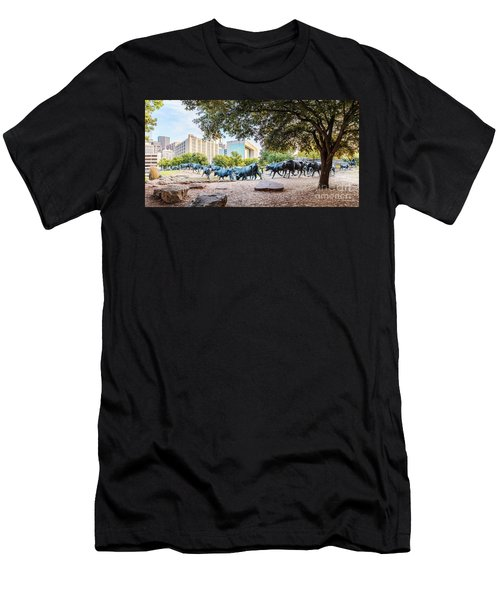 Panorama Of Cattle Drive At Pioneer Plaza In Downtown Dallas - North Texas Men's T-Shirt (Athletic Fit)