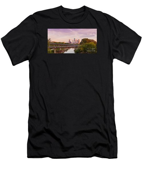 Panorama Of Downtown Houston Skyline From Studemont Drive - Buffalo Bayou Park Houston Texas Men's T-Shirt (Athletic Fit)