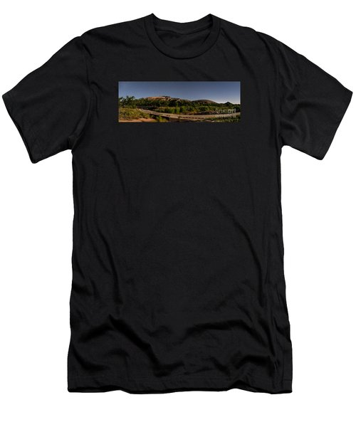 Panorama Of Enchanted Rock At Night - Starry Night Texas Hill Country Fredericksburg Llano Men's T-Shirt (Athletic Fit)