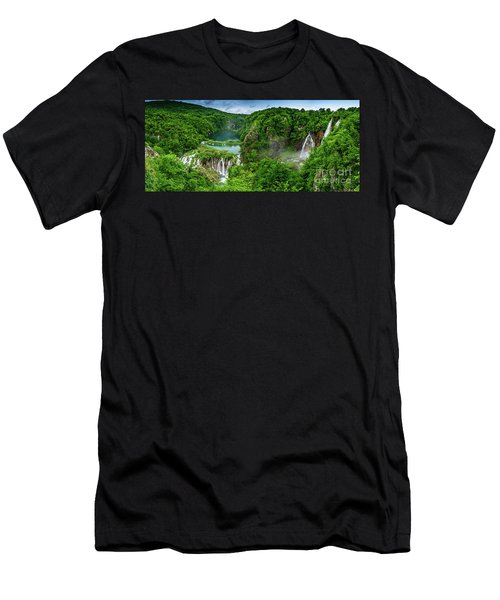 Panorama Of Turquoise Lakes And Waterfalls - A Dramatic View, Plitivice Lakes National Park Croatia Men's T-Shirt (Athletic Fit)
