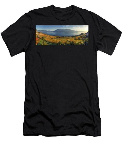 Panorama On Lavaux Region, Vaud, Switzerland Men's T-Shirt (Athletic Fit)
