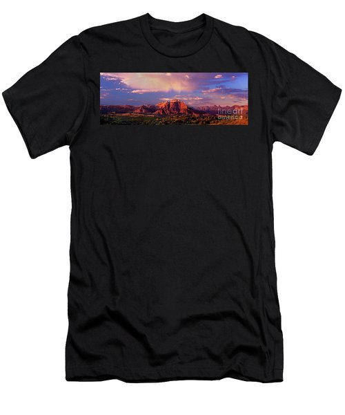 Panorama West Temple At Sunset Zion Natonal Park Men's T-Shirt (Athletic Fit)