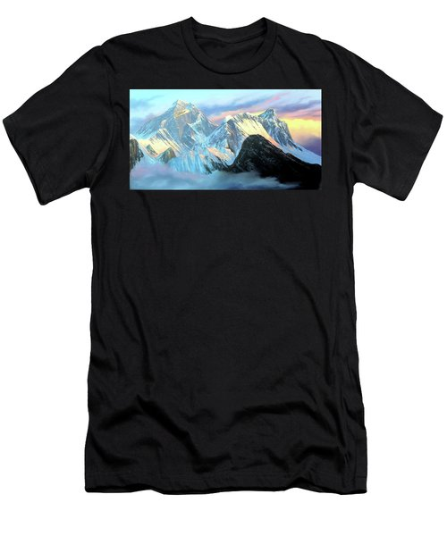 Panoramic Sunrise View Of Everest Mountain Men's T-Shirt (Athletic Fit)