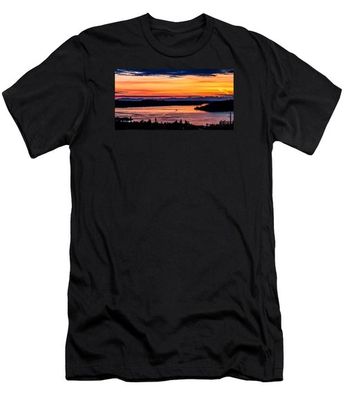 Panoramic Sunset Over Hail Passage E Series On The Puget Sound Men's T-Shirt (Athletic Fit)