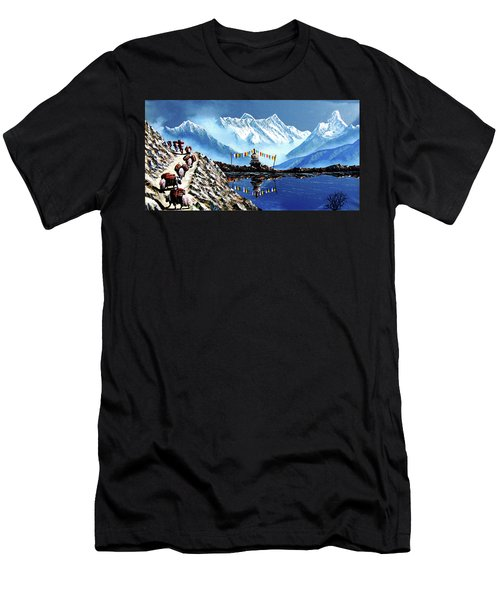 Panoramic View Of Annapurna Mountain Nepal Men's T-Shirt (Athletic Fit)