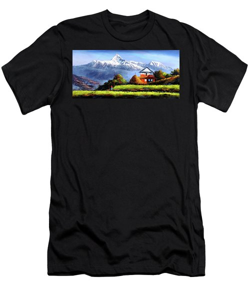 Panoramic View Of Beautiful Everest Mountain Men's T-Shirt (Athletic Fit)