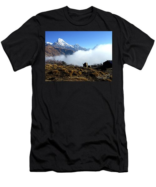 Panoramic View Of Everest Mountain Nepal Men's T-Shirt (Athletic Fit)