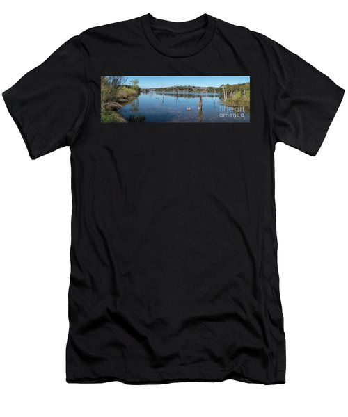Panoramic View Of Large Lake With Grass On The Shore Men's T-Shirt (Athletic Fit)