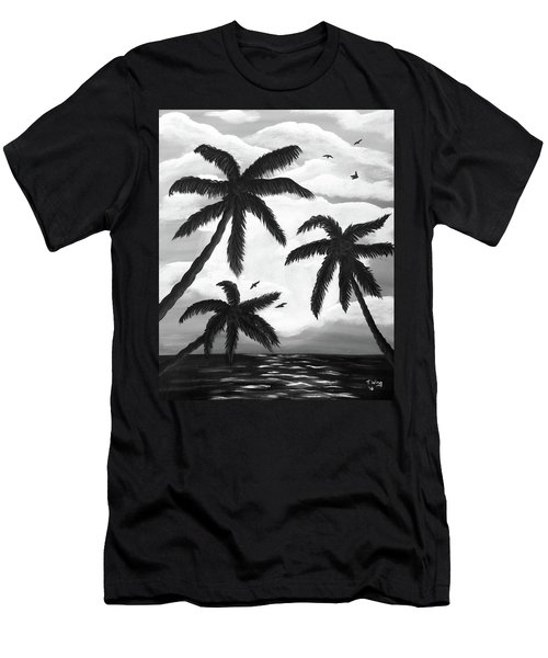 Men's T-Shirt (Slim Fit) featuring the painting Paradise In Black And White by Teresa Wing