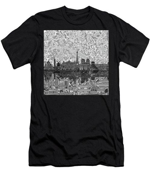 Paris Skyline Black And White Men's T-Shirt (Athletic Fit)