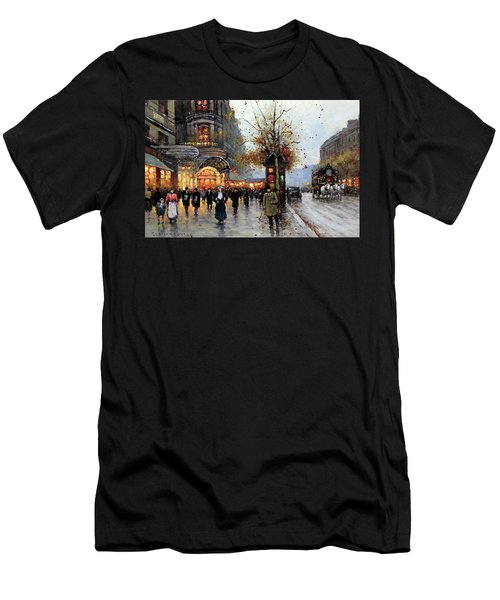 Paris Street Scene Men's T-Shirt (Athletic Fit)