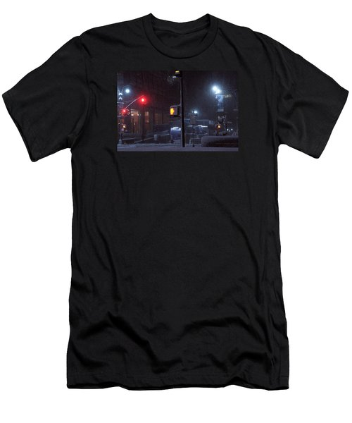 Park Avenue And E46th Street In The Late Night Snow Storm Men's T-Shirt (Athletic Fit)