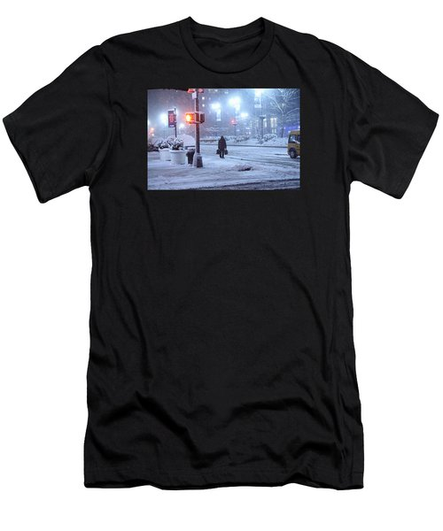Park Avenue At E45th Near Grand Central In The Winter Storm Late Night New York On Feb 08 2013 Men's T-Shirt (Athletic Fit)