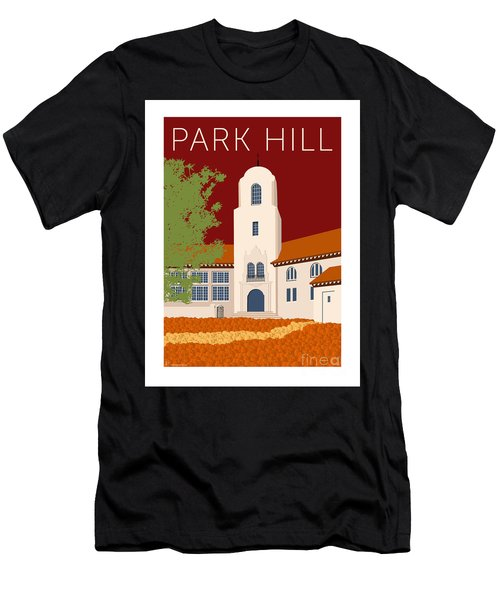 Men's T-Shirt (Athletic Fit) featuring the digital art Park Hill Maroon by Sam Brennan