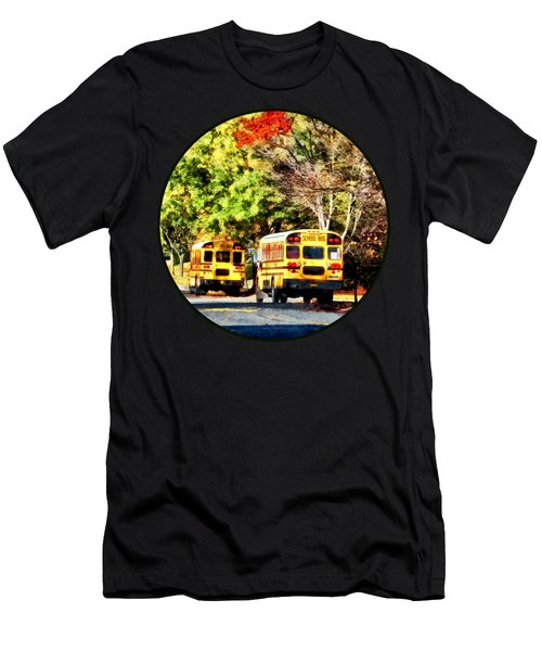 Parked School Buses Men's T-Shirt (Slim Fit) by Susan Savad