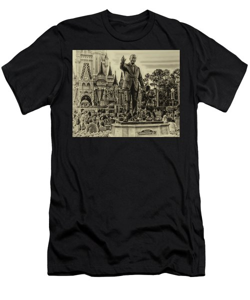 Partners Statue Walt Disney And Mickey In Black And White Men's T-Shirt (Athletic Fit)