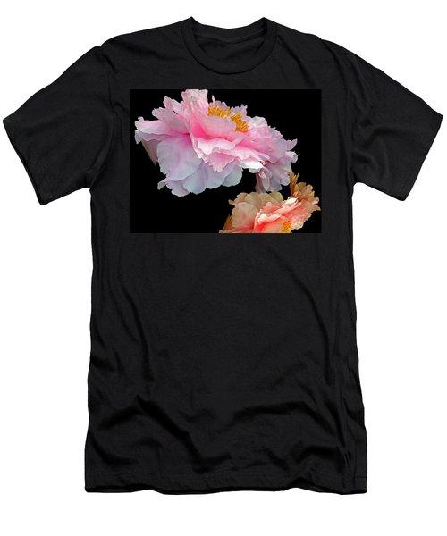 Pas De Deux Glowing Peonies Men's T-Shirt (Slim Fit) by Lynda Lehmann