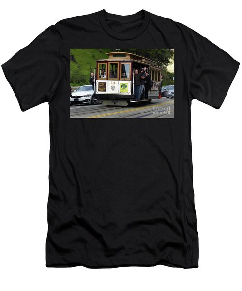 Passenger Waves From A Cable Car Men's T-Shirt (Athletic Fit)