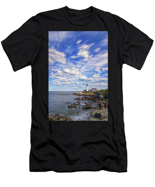 Passing Clouds At Portland Head Light Men's T-Shirt (Athletic Fit)