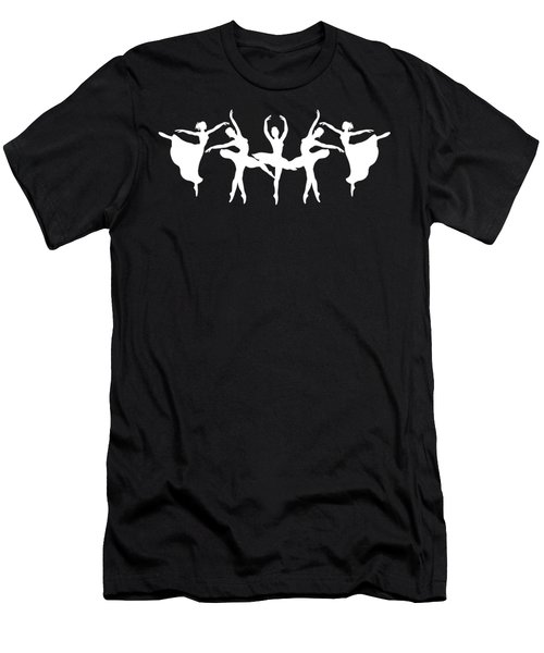 Passionate Dance Ballerinas Silhouettes In White Men's T-Shirt (Athletic Fit)