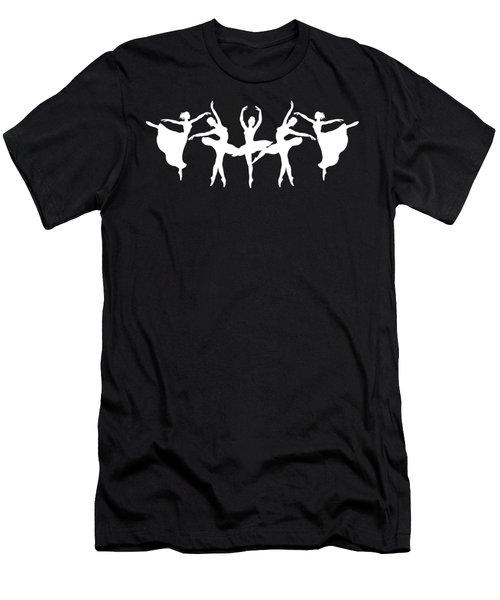 Passionate Dance White Ballerinas Silhouettes Men's T-Shirt (Athletic Fit)