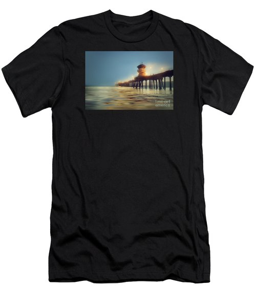Pastel Evening At Huntington Beach Pier Men's T-Shirt (Athletic Fit)