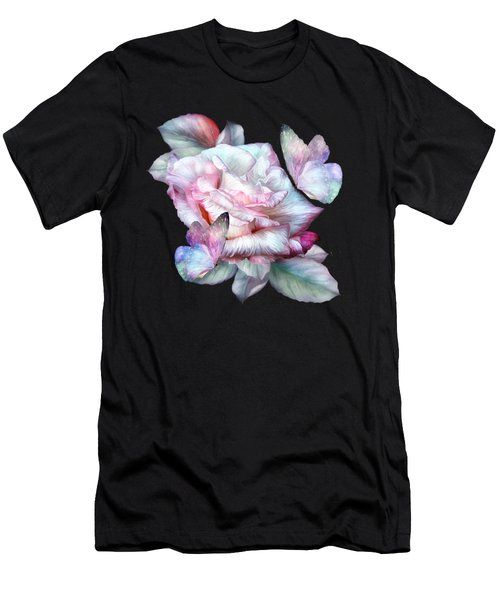 Pastel Rose And Butterflies Men's T-Shirt (Athletic Fit)