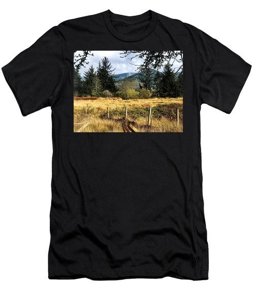 Pasture, Trees, Mountains Sky Men's T-Shirt (Athletic Fit)