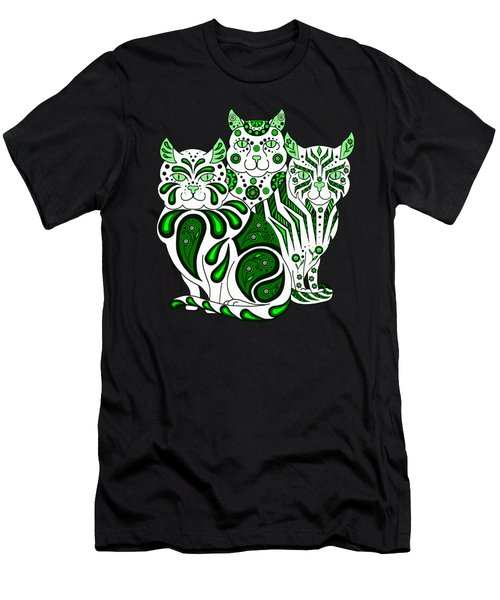 Patches, Stripes, And Bobbles In Green Men's T-Shirt (Athletic Fit)