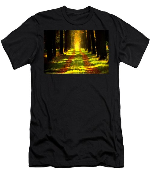 Men's T-Shirt (Athletic Fit) featuring the painting Path In The Forest 715 - Painting by Ericamaxine Price