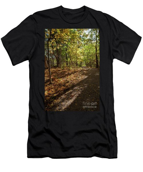 Men's T-Shirt (Slim Fit) featuring the photograph Pathways In Fall by Iris Greenwell