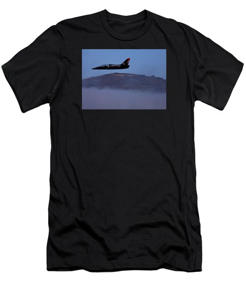 Patriot Jet Skims The Fog Over San Francisco Bay Men's T-Shirt (Athletic Fit)