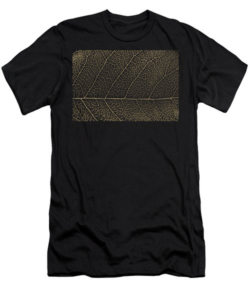 Patterns Of Nature - Leaf Veins In Gold On Black Canvas No. 2 Men's T-Shirt (Athletic Fit)