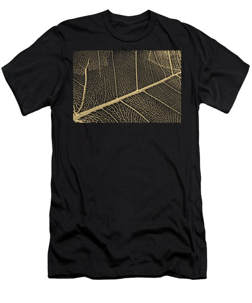 Patterns Of Nature - Leaf Veins In Gold On Black Canvas No. 3 Men's T-Shirt (Athletic Fit)