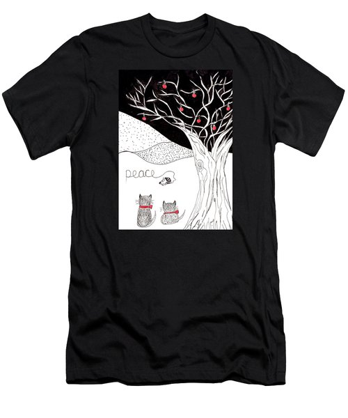 Men's T-Shirt (Slim Fit) featuring the drawing Peace by Lou Belcher