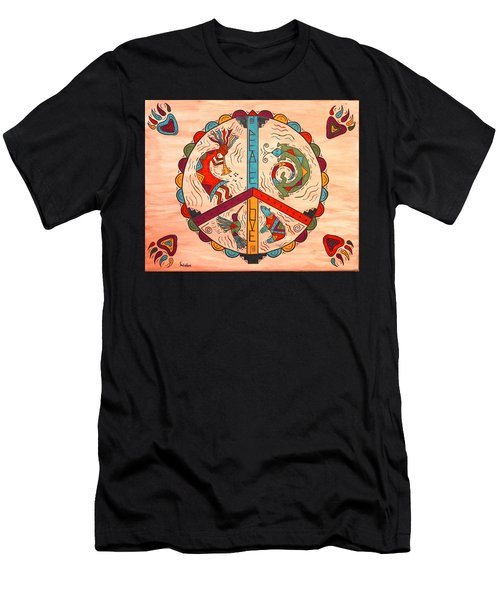 Men's T-Shirt (Slim Fit) featuring the painting Peace Love And Harmony by Susie WEBER