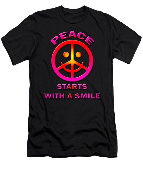 Peace Starts With A Smile Men's T-Shirt (Athletic Fit)