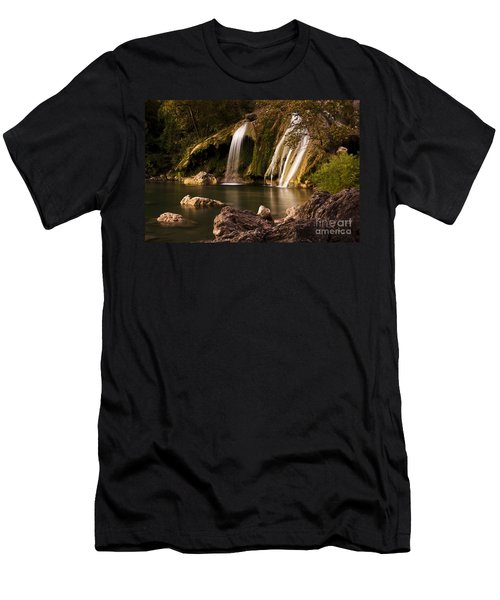 Men's T-Shirt (Slim Fit) featuring the photograph Peaceful Day At Turner Falls by Tamyra Ayles