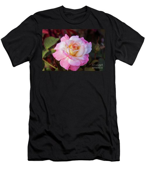 Peach And White Rose Men's T-Shirt (Athletic Fit)