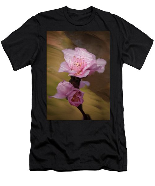 Men's T-Shirt (Athletic Fit) featuring the photograph Peach Blossom Through Glass by David Waldrop
