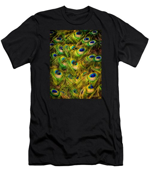 Men's T-Shirt (Athletic Fit) featuring the photograph Peacock Tails by Rikk Flohr