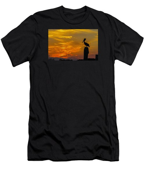 Pelican At Silver Lake Sunset Ocracoke Island Men's T-Shirt (Athletic Fit)