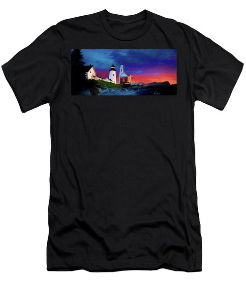 Pemaquid Lighthouse At Dawn Artistic Panorama Men's T-Shirt (Athletic Fit)