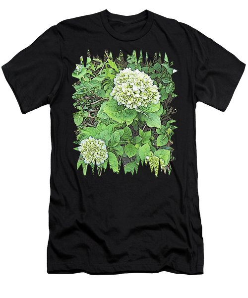 Pencil Sketch Hydrangea With Jagged Edges Men's T-Shirt (Athletic Fit)