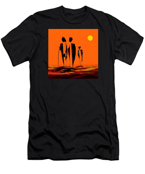 Men's T-Shirt (Slim Fit) featuring the painting Penman Origiinal-295-long Walk Home by Andrew Penman