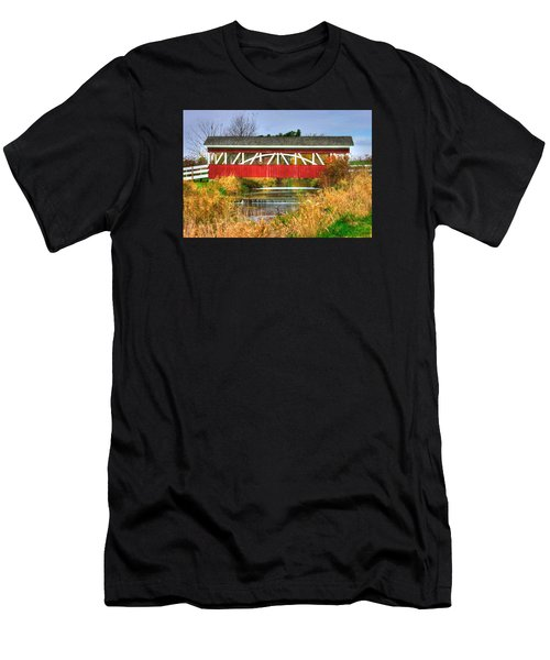 Pennsylvania Country Roads - Oregon Dairy Covered Bridge Over Shirks Run - Lancaster County Men's T-Shirt (Athletic Fit)