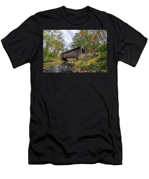 Pennsylvania Covered Bridge In Autumn Men's T-Shirt (Athletic Fit)