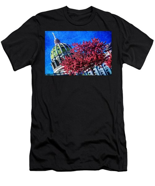 Men's T-Shirt (Slim Fit) featuring the photograph Pennsylvania State Capitol Dome In Bloom by Shelley Neff