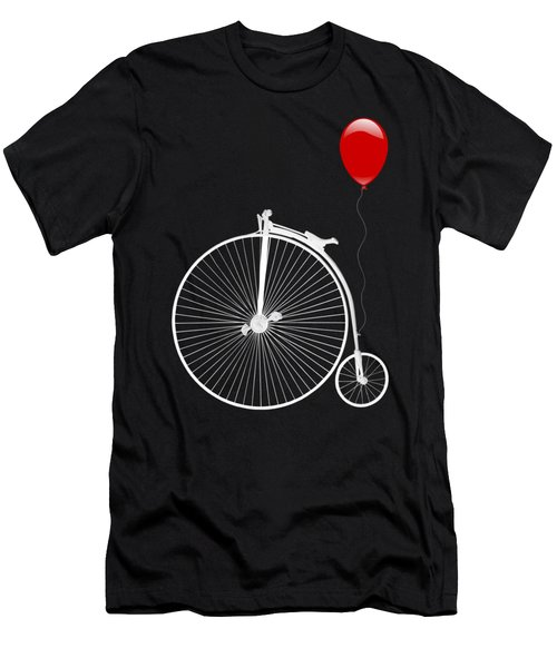 Penny Farthing With Red Balloon On Black Men's T-Shirt (Athletic Fit)